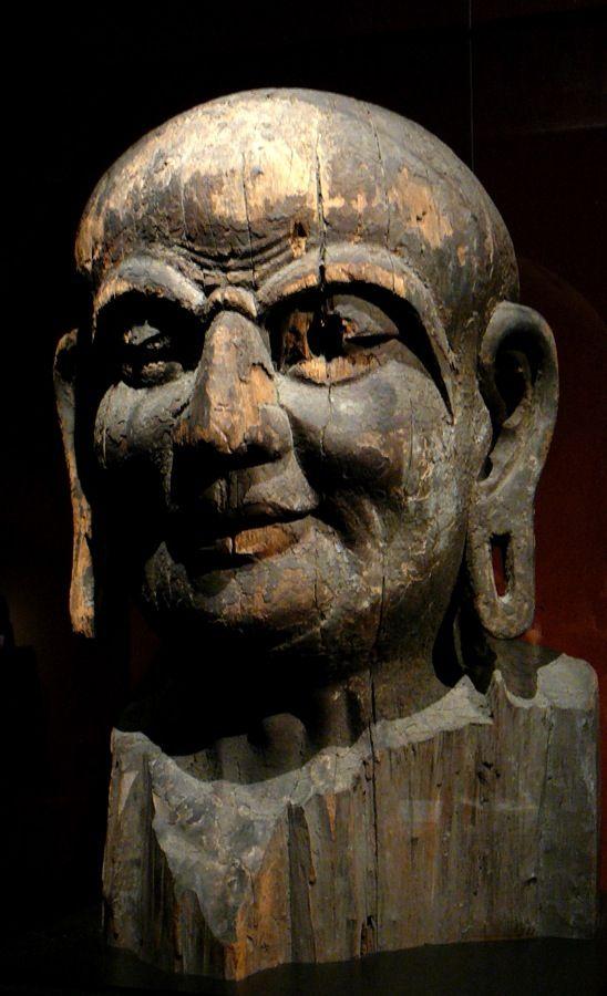 Wooden head of Kasyapa Buddha Shanghai Museum China