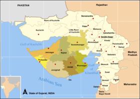 Mapa de los distritos de Guyarat