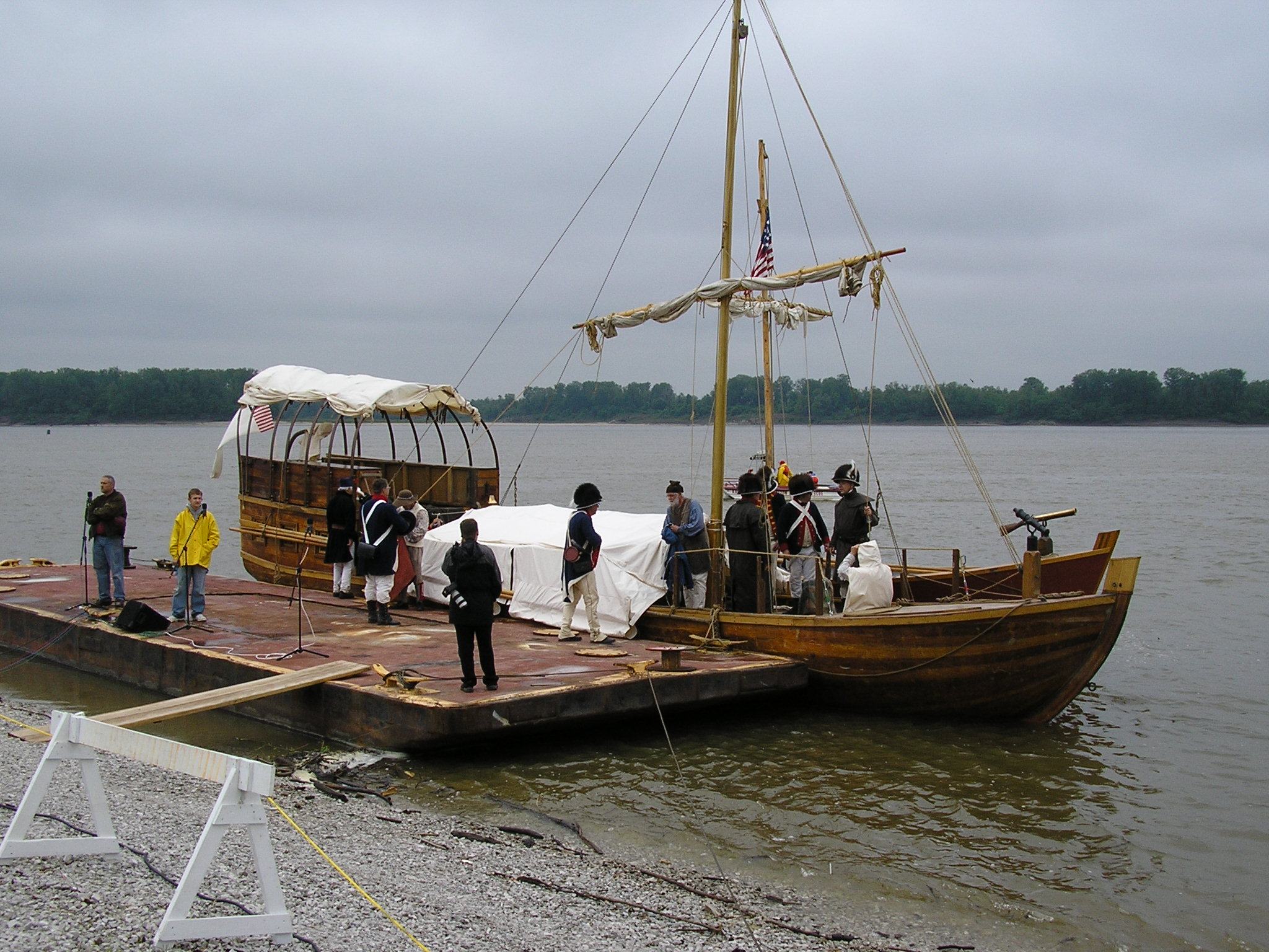 "Photo: The keelboat and ""Red Pirogue"" moored in the Mississippi River near  Camp"