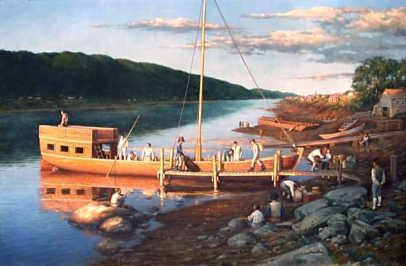 Loading the Lewis and Clark Keelboat