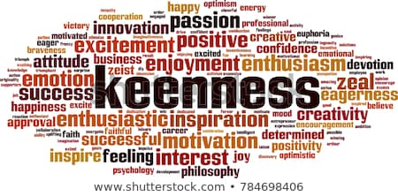 Keenness word cloud concept. Vector illustration