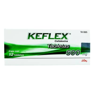 Keflex tabletas 12 pzas de 500 mg c/u