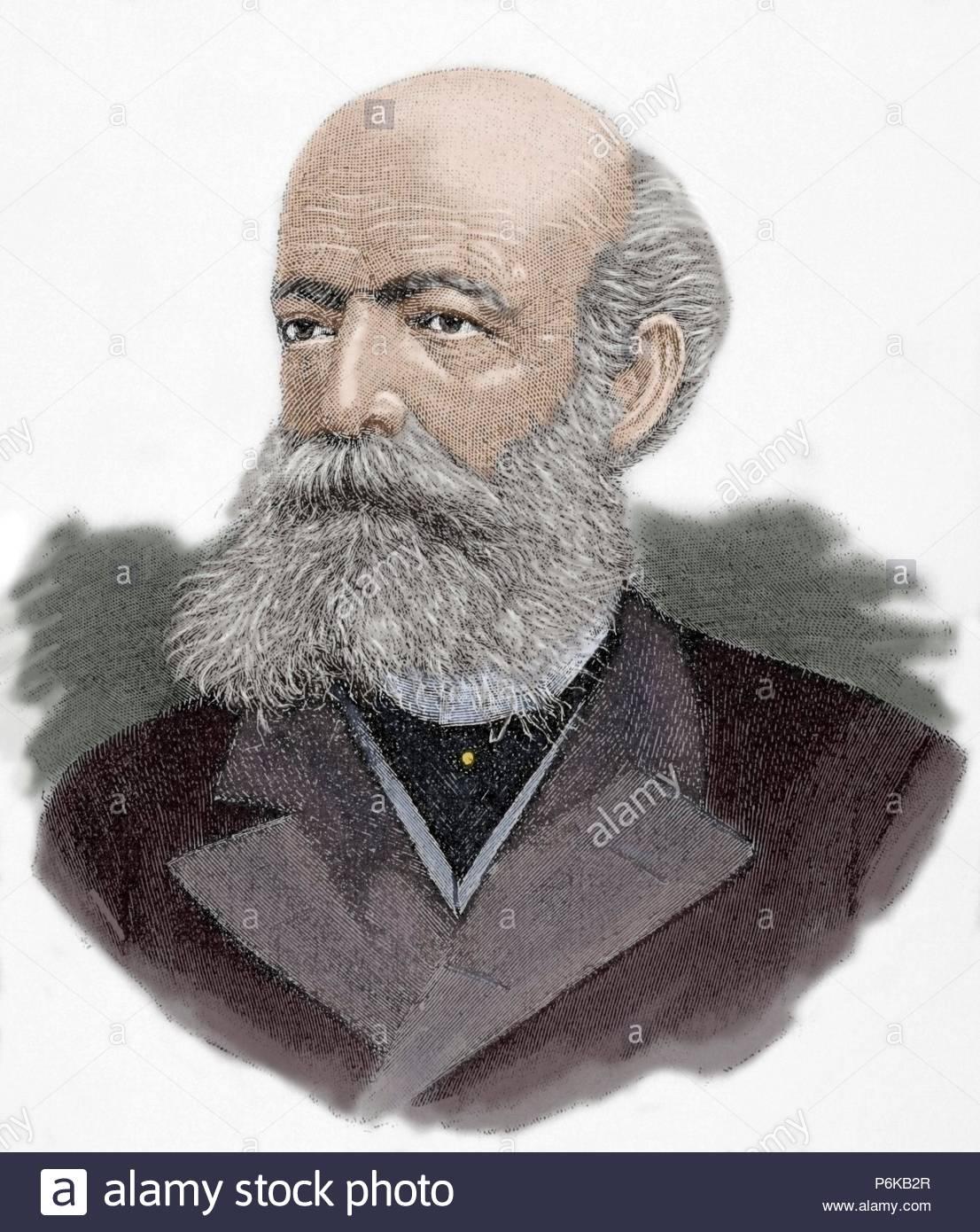 Friedrich August Kekule von Stradonitz (1829-1896). German chemist.  Engraving, 19th century. Colored.