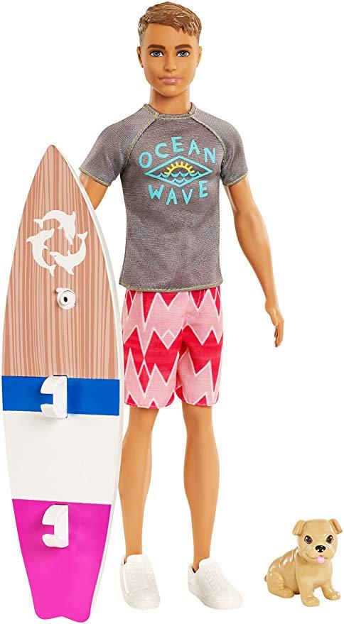 Barbie Aventura de los Delfines, muñeco ken surfero con accesorios (Mattel  FBD71) ,