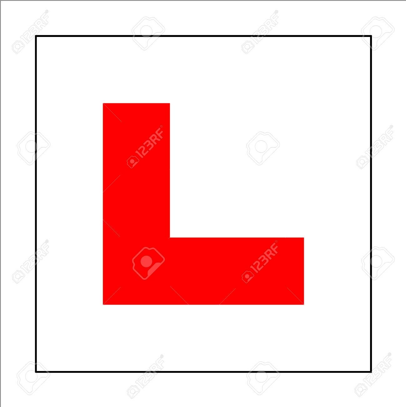Learner driver plate sign. Car driving school beginner symbol. Red letter L  on square