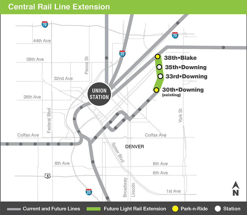 Graphical map of the L Line Central Rail Extension