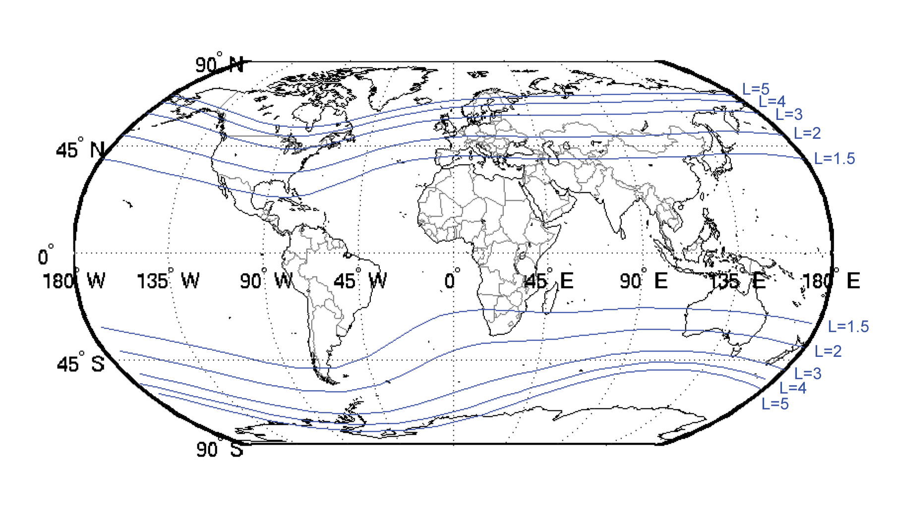 Map of L-shell field line locations on the surface of the Earth. The real  terrestrial field is approximately dipolar, but misaligned with the  rotation axis,