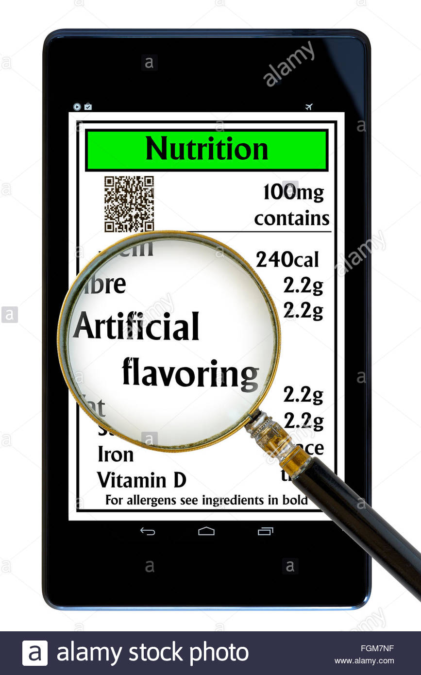 Artificial Flavoring food nutrition ingredient label list item