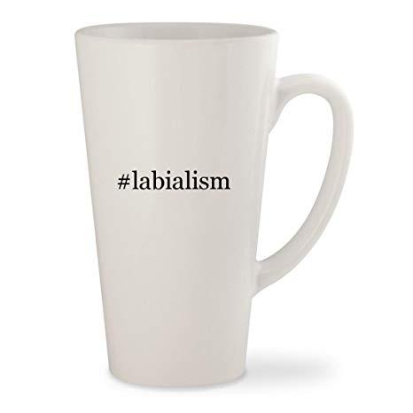 #labialism - White Hashtag 17oz Ceramic Latte Mug Cup