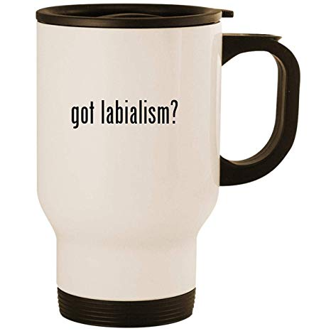 got labialism? - Stainless Steel 14oz Road Ready Travel Mug, White
