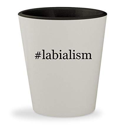 #labialism - Hashtag White Outer & Black Inner Ceramic 1.5oz Shot Glass