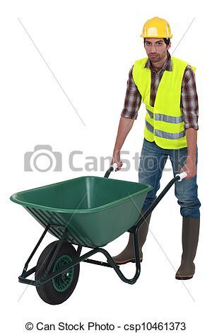 Unfriendly labourer pushing a wheelbarrow - csp10461373