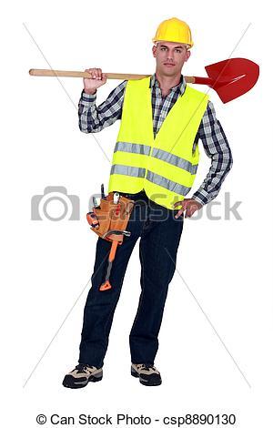 Labourer carrying a spade - csp8890130