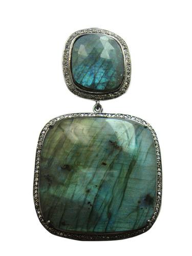 The Mask Jewellery 925 Sterling Silver Labradorite Pave Diamond Earring
