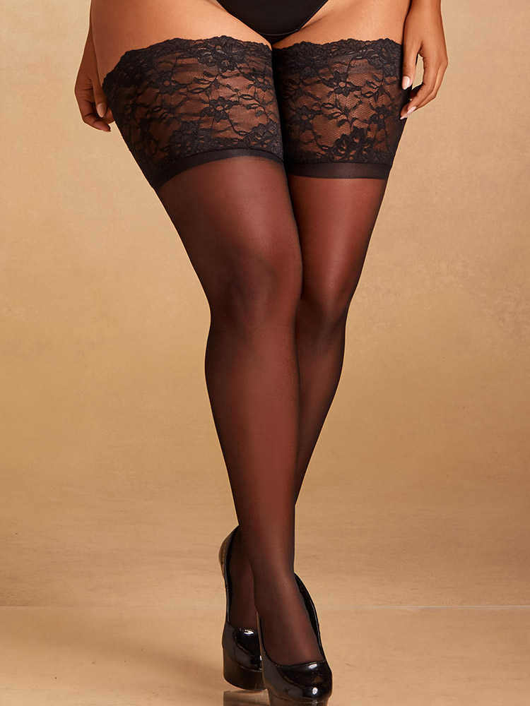 Wide Band Delicate Floral Lace Stay-Up Thigh Highs XL-2XL In Black By