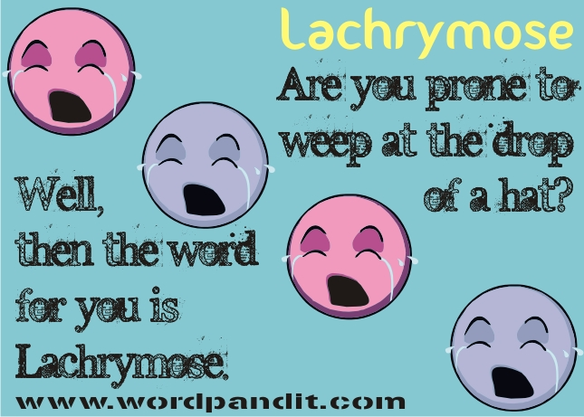 Do they flow out incessantly? Do you cry at every second instance? Well, in  that case you are a lachrymose person.