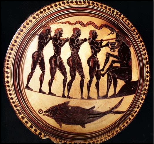 Blinding of Polyphemos, Laconian Black Figure Cup, c. 540 BCE.