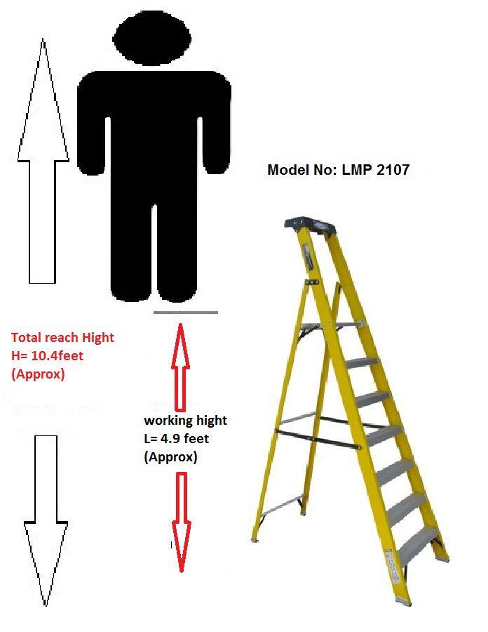 LADDERMAN 8Step Platform Fiber Glass Ladder (FRP Ladder)