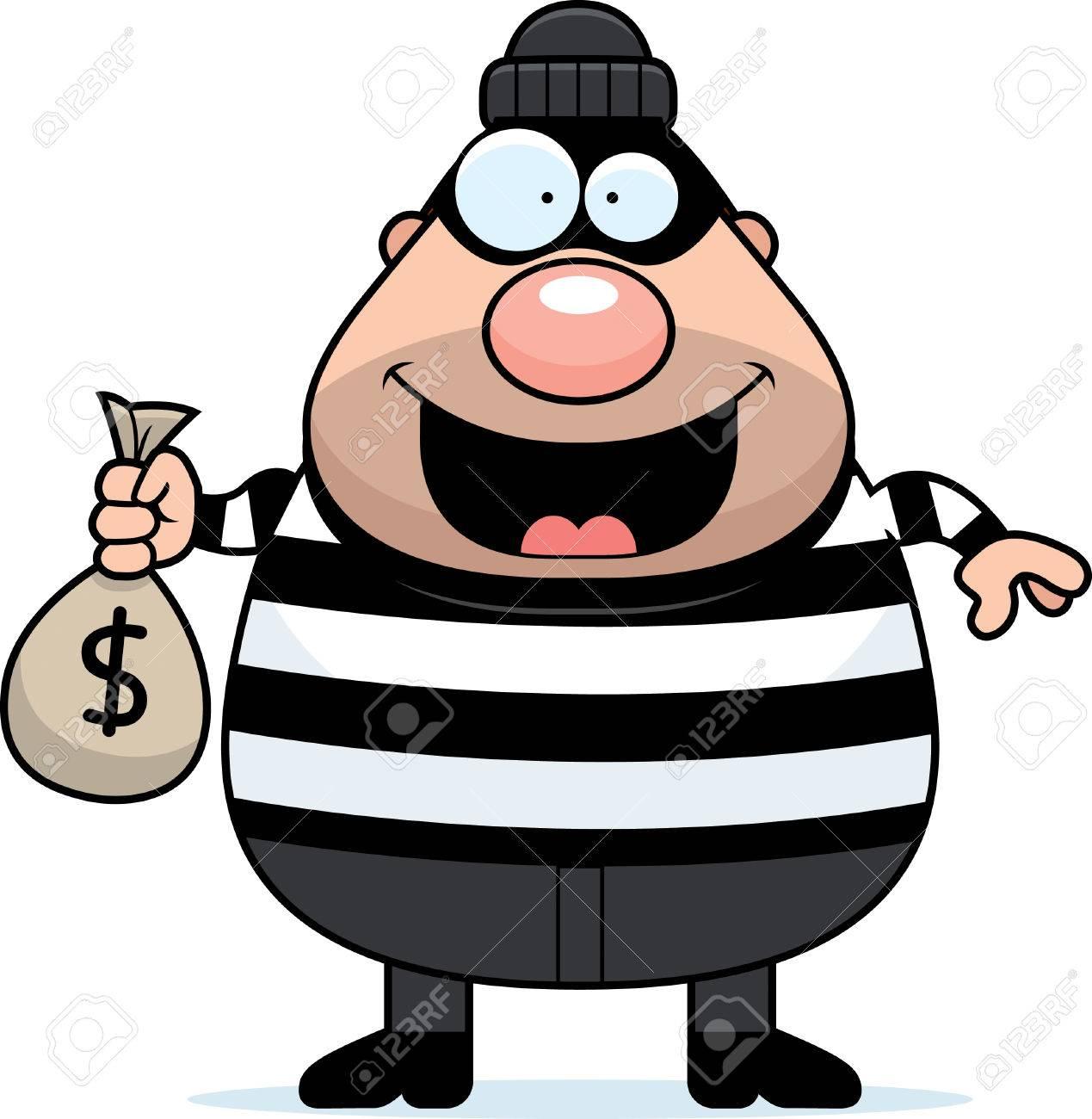Foto de archivo - Una ilustración de dibujos animados de un ladrón con una  bolsa de dinero.