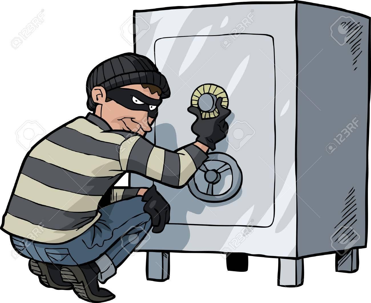 Foto de archivo - Ladrón de cajas de dibujos animados ladrón se rompe en  una ilustración vectorial de seguridad