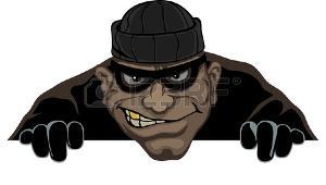 Un ladrón lleva una máscara se prepara para robar la noche
