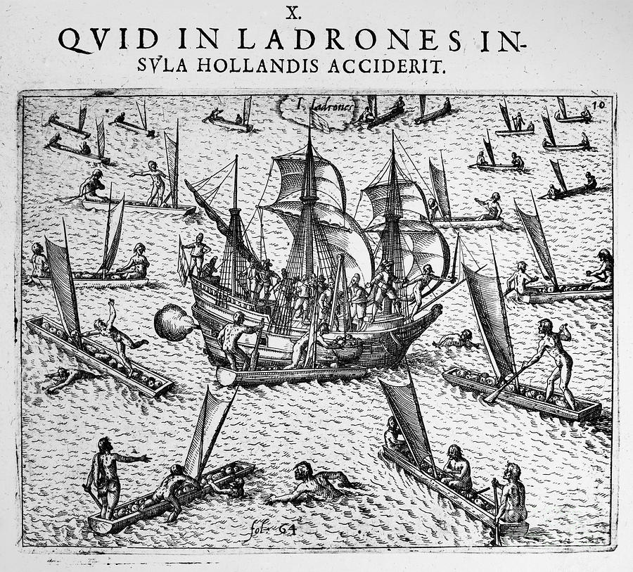 1590 Photograph - De Bry: Ladrones Islands by Granger