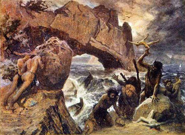 Jan Styka - Ulysses encounters the Laestrygonians. Tags: laestrygones,  laistrygones, laistrygonians, lestrygonians, odyssey, odysseus, ulysses,