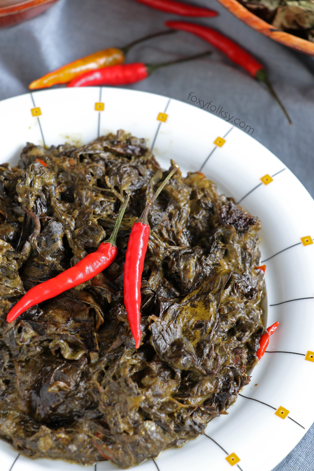 Get this authentic Bicolano Laing recipe! Dried Taro leaves cooked in  coconut milk with chilis