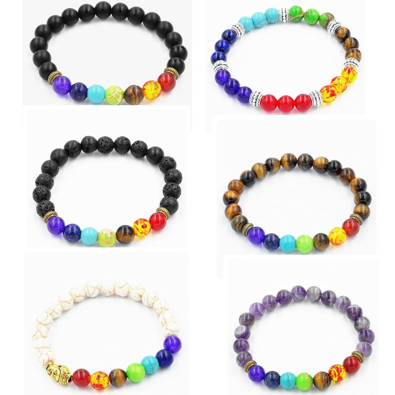 2019 Fashion Wholesale Natural Lava Volcano, Tiger Eye, Laips, Amethyst  Stone With Seven Color Stone Beaded Bracelet For Good Fortune Gift From  Xc_dpf150308