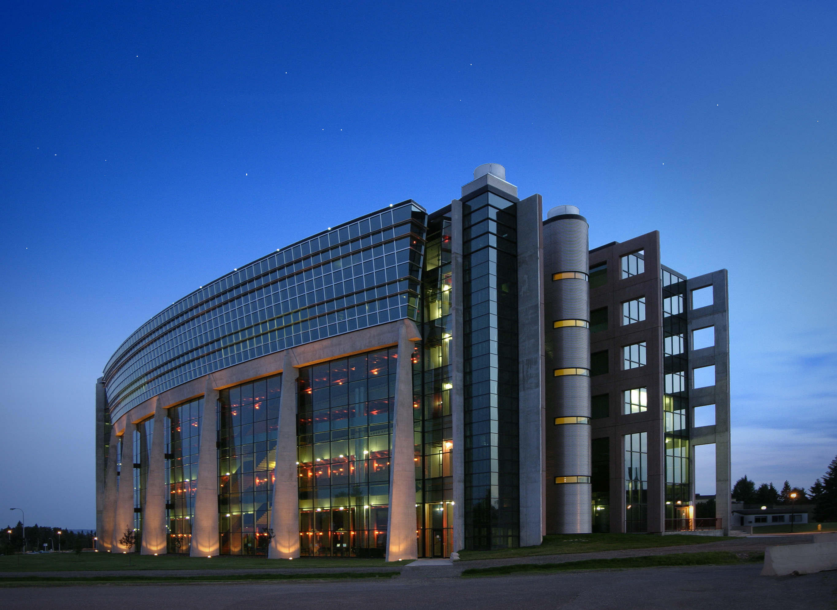 ATAC building at night with lights