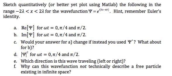 Question: Sketch quantitatively (or better yet plot using Matlab) the  following in the range -2 lambda < x .